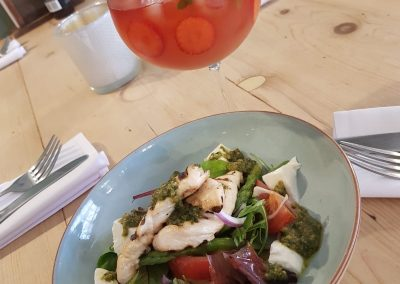 salad and cocktail